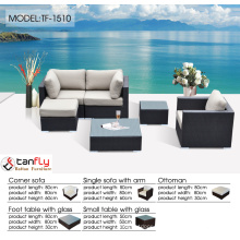 Slim low-profile cushion wicker outdoor patio sofa furniture set with ultra modern look.