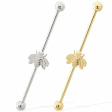14k Gold Industrial Barbell with Bumble Bee