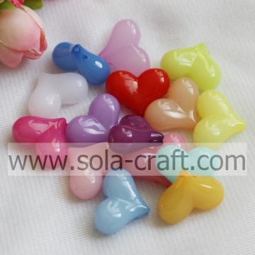 Wholesale Jelly Heart Chunky Opaque Acrylic Smooth Beads