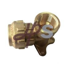 brass compression fittings for PE pipe wall plate elbow