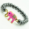 Pulsera Hematite 8MM Round Beads Stretch Gemstone con Diamante alloy elephant Piece