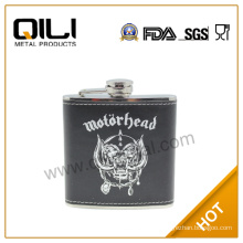 Leather wrapped stainless steel hip flask