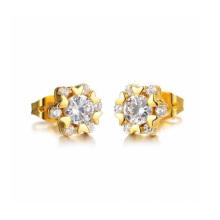 Les femmes conçoivent des boucles d'oreille de coeur d'amour, des boucles d'oreille de cristal d'or d'oreille