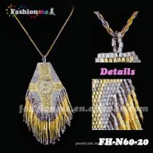 collares de borla color oro elegante cuentas padant