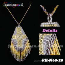 gold color elegant beaded padant tassel necklaces