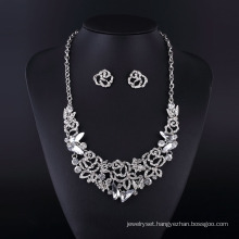 Fashion Crystal Butterfly Silver Plating Lady′s Necklace Set