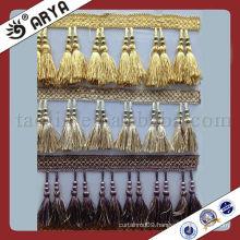 Chinese Tassel Jade 100% Polyester Pairs Of Tassel Fringe High Quality Golden Tassel Fringe