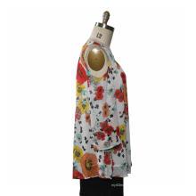Женская блузка с длинными рукавами-клипсой из шифона