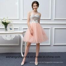 Perlen kurzen trägerlosen Kleid Farbe Tüll Coral Prom Dress