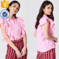 Bonito Rosa Manga Curta Ruffled Frill Shirt Verão Top Fabricação Atacado Moda Feminina Vestuário (TA0083T)
