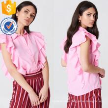 Cute Pink Short Sleeve Ruffled Frill Shirt Summer Top Manufacture Wholesale Fashion Women Apparel (TA0083T)