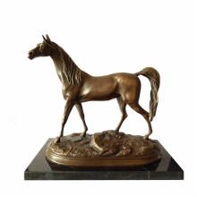 Sculpture en bronze animal Artisanat à simple cheval Statue en laiton Deco Tpal-247