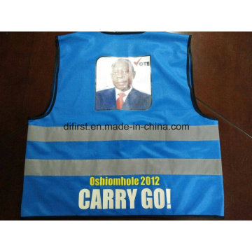 Safety Vest Blue Colour with Print Logo 100%Polyester