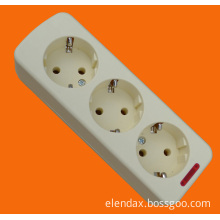 European Style 3 Way Power Extension Socket with Earth and Neon Light (E5003E)