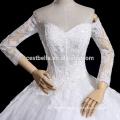 Manga larga de tren largo de encaje sin tirantes de encaje vestido de novia vestido de fiesta