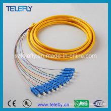 Cable de remiendo óptico de la fibra de Sc, cable de remiendo de la fibra óptica