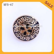 MFB67 Antik-Messing hochwertiger Metall geprägter Knopf für Jeans 2cm