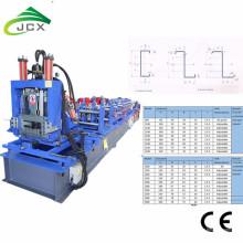 Purlin de cadre en acier de changement rapide CZ formant la machine