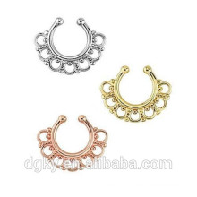 Fake Septum Clicker Clip On Non Piercing Hoop Cartilage Tribal Nose Ring
