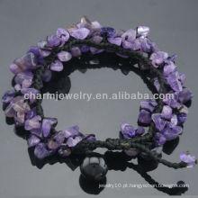 Natural Pulseira de cristal de quartzo ametista para mulheres SB-0252