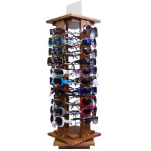 Quality Eyewear Products Retail Store Rotating Wooden Sunglass Optical Glasses Floor Display Stand