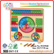 Fertigen Sie Kinderspielwaren besonders an Bunte Kalender-hölzernes Puzzlespiel-Spiel besonders an