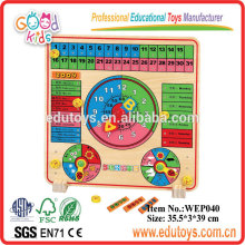 Customize Children's Toys Colorful Calendar Wooden Puzzle Game