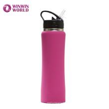FDA Wide Mouth Isolierte 304 Edelstahl Wasserflasche 500 ml Mit Stroh