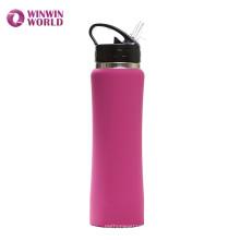 A boca larga de FDA isolou a garrafa de água de aço inoxidável 500ml da categoria 304 com palha