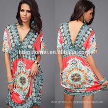 Vestidos de una sola pieza de las señoras de la seda de la venta caliente del verano 2017 Últimos diseños del vestido