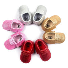 4 cor Infant Toddler Prewalker Moda borlas bebê meninas sapatos