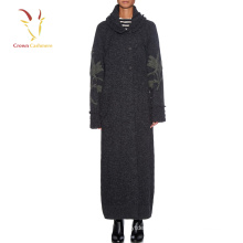 Women Winter long Coat Embroidery Design Knitted Coat