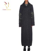 Женщины зима длинная пальто дизайн вышивки вязаные пальто