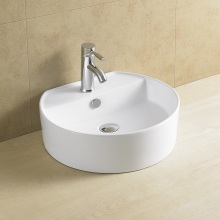 Top Mounted Single Faucet Hole Porcelain Basin 8112