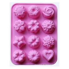 12 não-Vara do silicone das flores da cavidade, molde de pão do bolo, geléia do chocolate, molde de cozimento dos doces