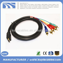 1.5M / 5FT HDMI A 5RCA RGB Cable Negro