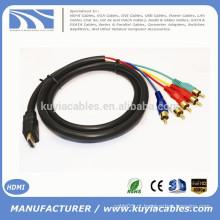 1.5M / 5FT HDMI para 5RCA RGB cabo preto