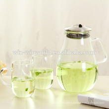Promotional Handmade Stainless Steel Filter Microwave Oven Glass Teapot