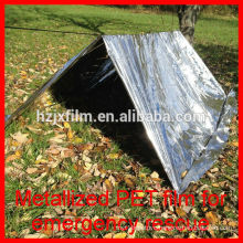 Heat barrier survival tent polyester pet film