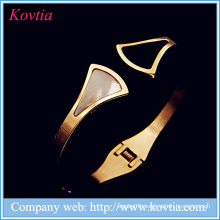 New products designs stainless steel jewelry shell cuff bracelet bangles