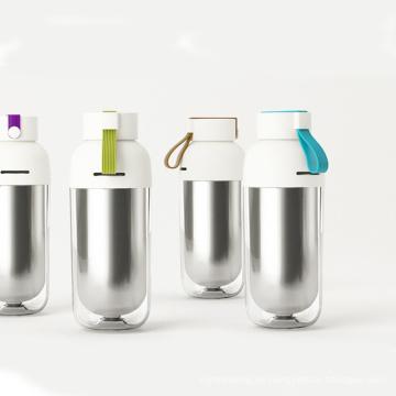 Colorido aislamiento térmico botella de pared doble con cuerda de elevación