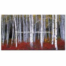 Impresión de la lona del bosque de la lavanda / imagen de la pared del árbol de abedul / pintura de la lona del paisaje de Dropship