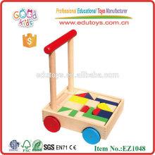 Caminante de madera del bebé de la alta calidad con los bloques de impresión Juguetes de madera hechos a mano