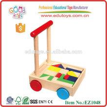 Walker bébé en bois de haute qualité avec blocs d'impression Jouets en bois faits à la main