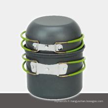Vente chaude en aluminium en plein air ensemble de pot en plein air ustensiles de cuisine camping ensemble de cuisson