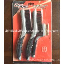 Two Colour Plastic Handle 3 PCS Set Brush (YY-536)