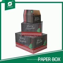 Caixa de empacotamento decorativa da caixa de presente do ornamento do Natal da textura de madeira