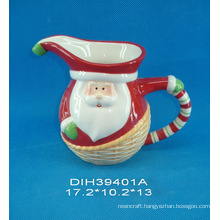 Hand-Painted Ceramic Santa Pitcher