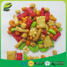 Colored and flavored rice crackers mix