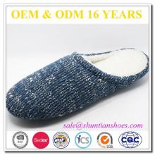 Soft faux fur lining cashmere men indoor floor slipper